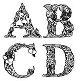 Set of letters ABCD Stock Image