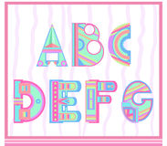 Set of letters of the alphabet in a children's style. For your creativity Royalty Free Stock Photo
