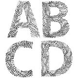 Set of letters A, B, C and D Royalty Free Stock Images
