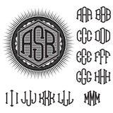 Set of letters for decoration stylish retro monogram Royalty Free Stock Image