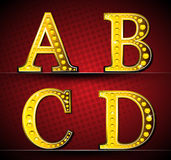 Set Letters With Gold LED Lamp Royalty Free Stock Images