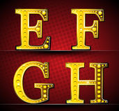 Set Letters With Gold LED Lamp Stock Image