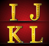 Set Letters With Gold LED Lamp Stock Photos