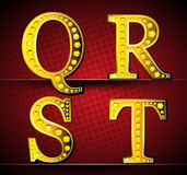 Set Letters With Gold LED Lamp Royalty Free Stock Image