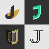 The set of letters J signs Stock Image
