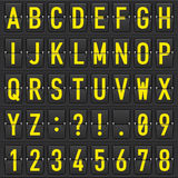 Set of letters on a mechanical timetable stock illustration