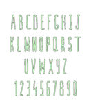 Set of letters and numbers, handmade. Sketch font Royalty Free Stock Photography