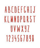 Set of letters and numbers, handmade. Sketch font Stock Photography
