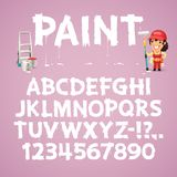 Set of Letters and Numbers Painted on a Wall royalty free illustration