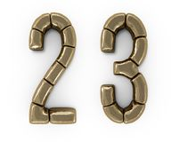 Set of letters, numbers and symbols from gold bars. 3D. Rendering royalty free illustration