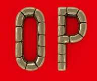 Set of letters, numbers and symbols from gold bars. 3D. Rendering Stock Photo