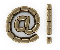 Set of letters, numbers and symbols from gold bars. 3D. Rendering Royalty Free Stock Image