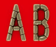 Set of letters, numbers and symbols from gold bars. 3D. Rendering Stock Images