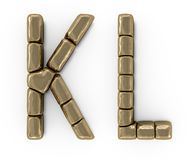 Set of letters, numbers and symbols from gold bars. 3D. Rendering Royalty Free Stock Photos