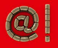 Set of letters, numbers and symbols from gold bars. 3D. Rendering Stock Photos