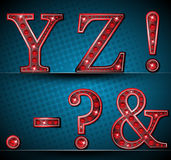 Set Letters With Red LED Lamp Royalty Free Stock Image