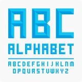 Set of letters. Vector alphabet blue. Unique English alphabet vector blue. Volumetric letters stock illustration