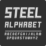 Set of letters. Vector alphabet steel color. Unique English alphabet vector steel color. Volumetric letters Stock Image