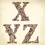 Set of letters XYZ Stock Image