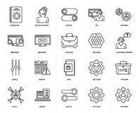 Set of  Levels, Settings, Laptop, Toolbox, Bug, Browser, Hardware, Settings icons. Set Of 20 icons such as Settings, Switch, Laptop, Tools, Bug, Levels, Browser Stock Photos
