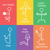 Set of lfitness line icons Royalty Free Stock Photography