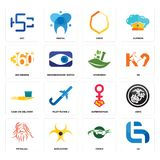 Set of lg, crocs, patanjali, superwoman, cash on delivery, ayurvedic, 360 degree, crest, hsc icons. Set Of 16 simple  icons such as lg, crocs, biohazard Stock Photos