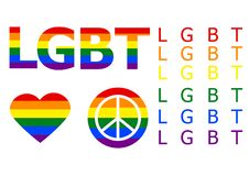 Set of LGBT icons.  vector. NLGBT letters in the colors of the rainbow. Rainbow heart. Round flag icon with peace symbol. vector