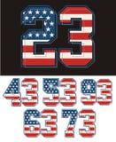 Set liczb America flaga textured niebieski obraz nieba tęczową chmura wektora Obraz Stock