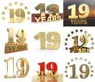 Set liczba dziewiętnaście rok 19 rok świętowania projekt Rocznicowi złoci numerowi szablonów elementy dla twój przyjęcia urodzino ilustracji