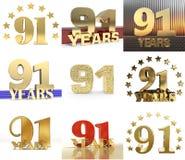 Set liczba sześćdziesiąt dziewiećdziesiąt jeden 91 roku świętowania projekta Rocznicowi złoci numerowi szablonów elementy dla twó royalty ilustracja