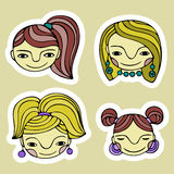 Set śliczna kreskówki dziewczyna Zdjęcie Royalty Free