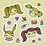 Set śliczna kreskówki dziewczyna Zdjęcia Stock