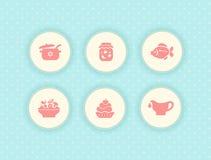 Set śliczne karmowe ikony Obraz Stock