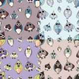 Set ślicznej sowy bezszwowi wzory Obrazy Stock