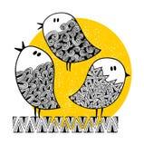 Set śliczni doodle ptaki na pogodnym tle Fotografia Stock