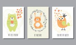 Set śliczni kartka z pozdrowieniami Obrazy Stock
