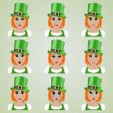 Set śliczni leprechaun dziewczyny emoticons Zdjęcie Royalty Free