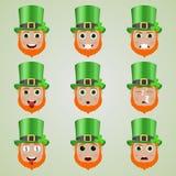 Set śliczni leprechaun emoticons Zdjęcie Stock