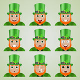 Set śliczni leprechaun emoticons Obraz Royalty Free