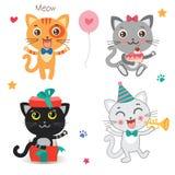 Set Śliczni Mali koty Kreskówki zwierzę Wektorowa kolekcja Na Białym tle Obraz Royalty Free