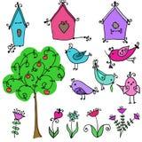 Set śliczni ptaki, drzewo i ptaki gniazduje boxe, i Obrazy Stock