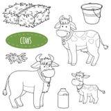 Set śliczni zwierzęta gospodarskie i przedmioty, wektorowe rodzinne krowy Fotografia Royalty Free
