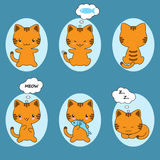 Set śliczny kotów majcherów kreskówki kota charakter Obraz Royalty Free