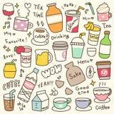 Set Śliczny napoju Doodle ilustracji