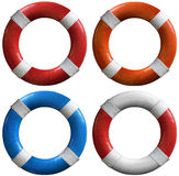 Set of life buoys Stock Photos