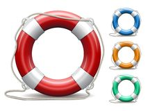 Set of life buoys on white background. Royalty Free Stock Photography