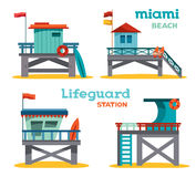 Set - lifeguard stations. Stock Images