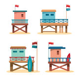 Set - Lifeguard Towers Stock Photo