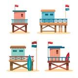 Set - lifeguard towers Stock Photo