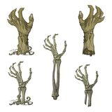 Set of lifelike depicted rotting zombie hands and skeleton hands rising from under the ground and torn apart. Painted Royalty Free Stock Photo